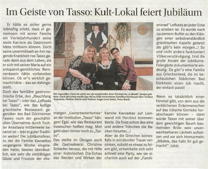 "Jubiläumsfeier ""25 Jahre Tasso in Bad Dürkheim"