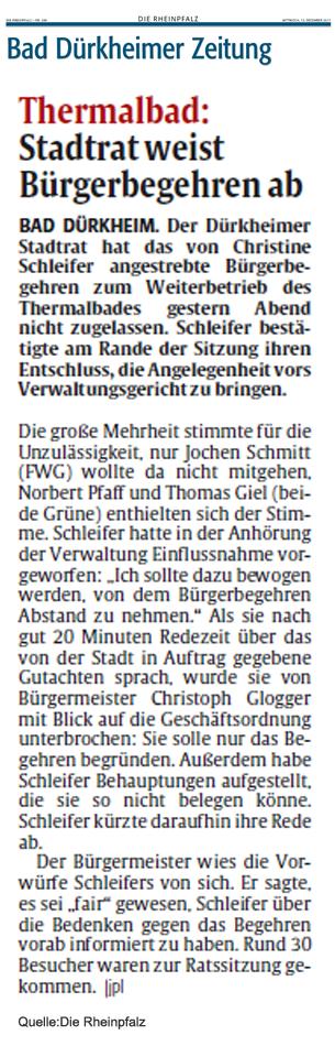 Artikel Rheinpfalz Zeitung